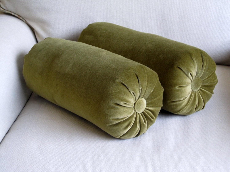 Velvet Olive Green Bolster Pillows 6x14 Pair