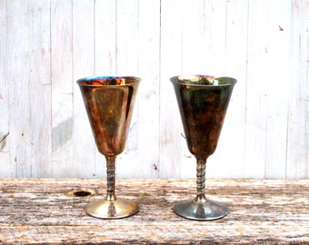 Vintage Silver Wine Goblets - Set of Two