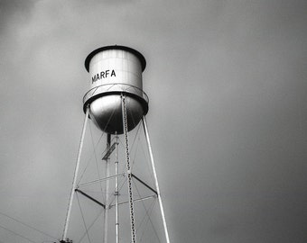 Black and White Photo, Film Print, Marfa Texas, Water Tower, Infrared Film, Modern Wall Art, 11x14 Photo, West Texas,  Architecture, Travel