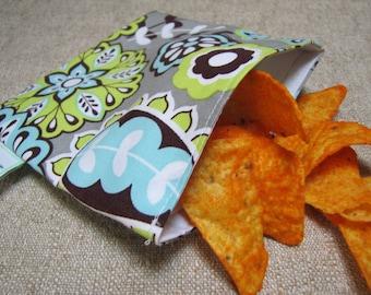 Reusable Snack Bag - Gray Paisley
