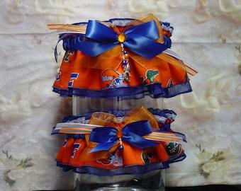 University of Florida Gators Wedding Garter Set/Orange on Blue