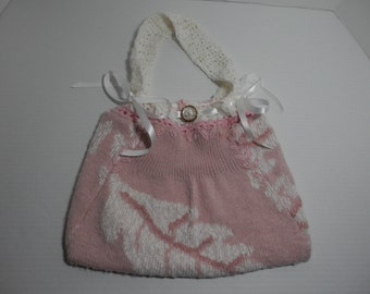10x13 Upcycle Pink & White Drawstring Party Purse Bride Quinceanera Sweet 16 Money Card Dollar Bridal Bag Knit Crochet Sweater Handbag Gift