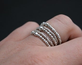 Beading hysteria - 5 solid sterling silver stacking rings
