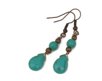 Turquoise Stone Teardrop Earrings, Bronze, Dangle, Sky Drops