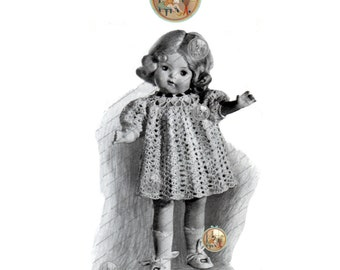 "WWII Dress Pattern to Crochet for Dolls 16"" 18"" 20"" - Instant Download Delivery - PrettyPatternsPlease"