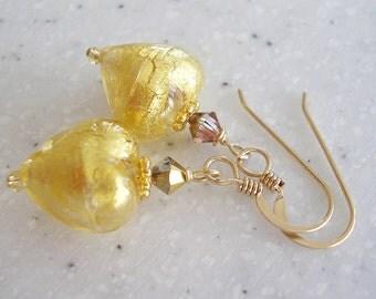 True Love - Gold Venetian Glass Hearts Earrings