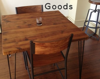 """Small Table with reclaimed wood top and Hairpin legs. 30"""" L x 30"""" W x 30"""" tall, seats 2.  1.65"""" top"""