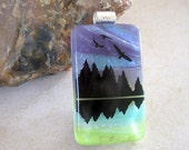 Purple Mountains Majesty Handmade Fused Glass Dichroic Pendant A0117