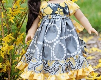 "Doll ruffle bustle dress peasant pattern - Mini Carousel Girl - 15"" AND 18"" doll sizes included"