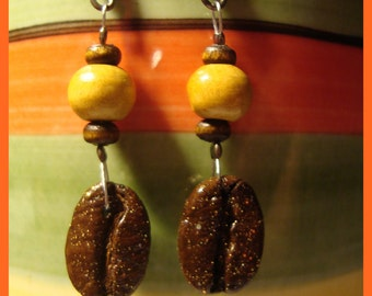 LOVE - HaNdMaDe EaRRiNgS WiTh ReaL CoFFee BeAnS