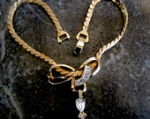 1940s Tara Gold Plated Cut Crystal Bow Pendant Necklace, Real Look
