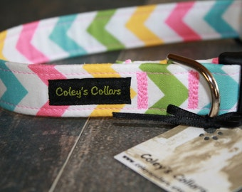 "Dog Collar ""The Chevron in Girl"" Pink Blue Yellow and Green Chevron Dog Collar"