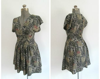 Vintage Print Mini Dress All That Jazz Grunge Chic 1980s 1990s