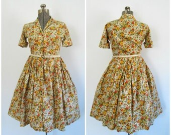 Mid Century Rockabilly Dress Floral Print Lady Arrow Shirtdress