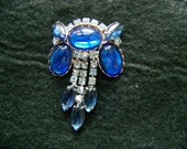 Vintage Sapphire Blue Brooch - Sparkling Rhinestone/Cabachon - 1950's  - Hoilday Gift - Unique Design - Free Shipping