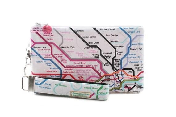 Zipper travel bag map of London tube - flat makeup bag as purse organizer