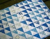 Blue Table Topper Spa Blue White Triangles Handmade Quilted