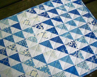 Blue Table Topper Spa Blue White Quilted Triangles Quiltsy Handmade FREE U.S. Shipping