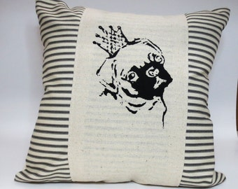 Pug Hand Screen Print Pillow Cover - Decorative throw pillow cushion cover with black pug in a crown screen print in black