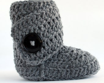 Grey Infant Crochet  Side Wrap Boots- Choose Your Size