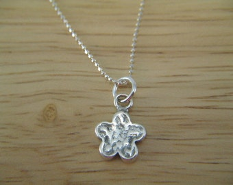 Silver Flower Necklace, Silver Charm Jewelry, Simple Charm Necklace, Dainty Flower Necklace, Little Flower Charm, Silver Necklace