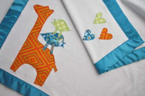 Organic Baby Blanket with Zoo Animals - Teal, Orange and Green -- Baby Boy or Baby Girl