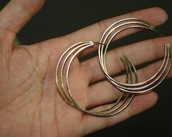 vintage hoop earrings twist medium size gold colored
