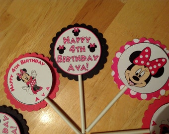 10 Minnie Mouse cupcake toppers