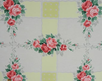 Vintage Wallpaper - Pink and Red Roses on Grey and Yellow - 1 Yard