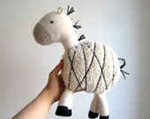 Zebra, organic, cuddly, animal, toy, plush, black, white, grey, monochrome, baby, shower gift, eco friendly, cosy, soft