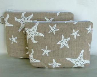 White Sea Star Star Fish Hand Printed on Hand Sewn Linen Zipper Bag