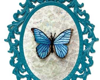 Blue Morpho Butterfly - Victorian Framed Object - Wall Art Decor 10.5x13.5in