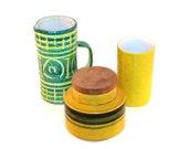 Mid-Century  Modern Italian Art Pottery . 3 Piece Set in Green and Yellow