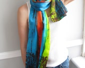 Hand Painted Summer Scarf Silk Charmeuse SALE Caribbean Paradise Colorful