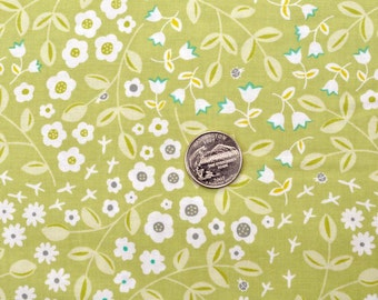 REDUCED - Les Amis, lil meadow in citron - 1 yard