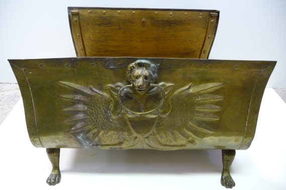 Antique fireplace Log holder Brass Lion heads Double eagle with shields Huge decorative Carrier Rack