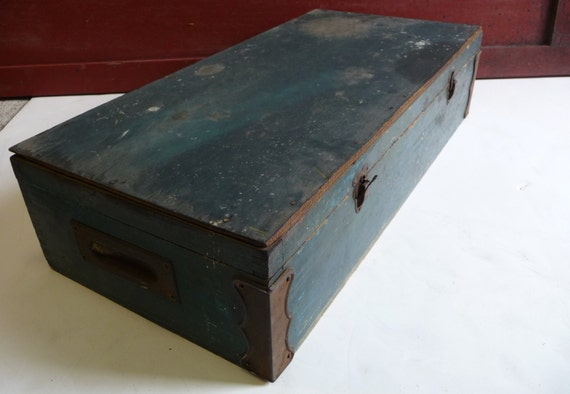 Wooden Chest Hardware ~ Vintage tool box wooden chest brass hardware handles rustic