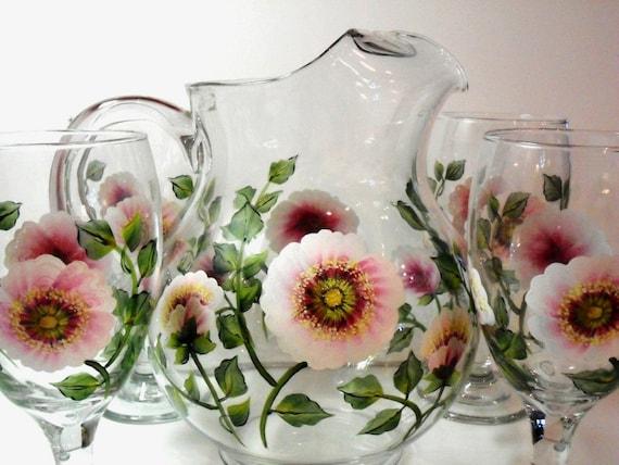 Pitcher Goblets Hand Painted Wild Rose 5 Piece Beverage Set
