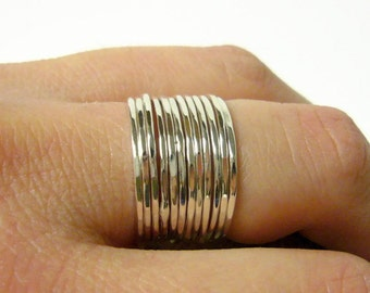 Sterling silver ring set layering rings Sterling silver stacking rings thin stacking ring stackable rings