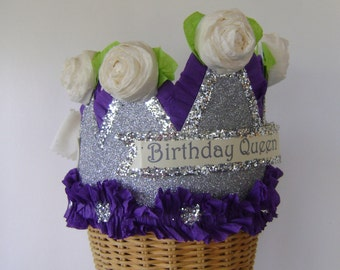 Birthday party Crown, birthday party hat, silver birthday hat, BIRTHDAY QUEEN or customize