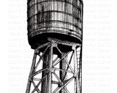 Brooklyn Water Tower Drawing- Free Shipping