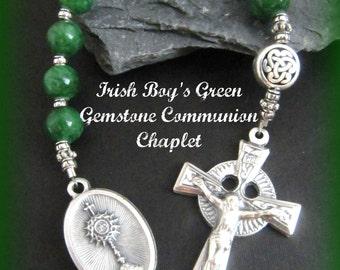 Irish Boy's First Communion Green Gemstone Chaplet