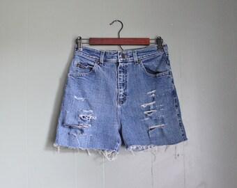 10 dollar sale Vintage 90s RIDERS Cut Off Denim Shorts Women S M - Blue Destroyed
