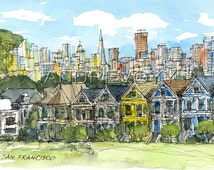 San Francisco Painted Ladies art print from an original watercolor painting