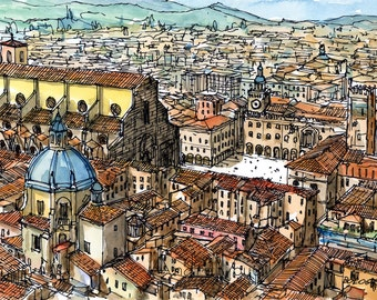 Bologna Italy art print from original watercolor painting