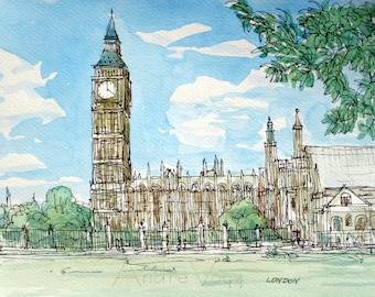 London Big Ben and Westminster Abbey art print from an original watercolor painting