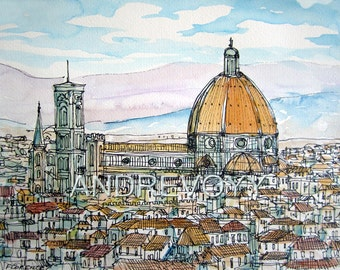 Florence Basilica di Santa Maria del Fiore Italy art print  from an original watercolor painting