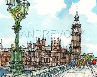 London Westminster art print from an original watercolor painting