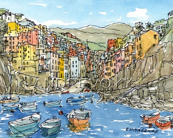 Riomaggiore  Italy art print from an original watercolor painting