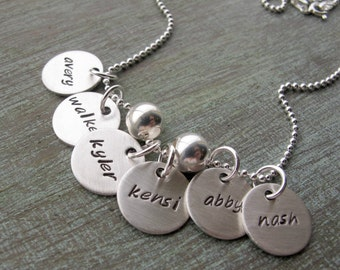 Hand Stamped Grandmother Necklace, Family Charms, Grandkids Names, Personalized Jewelry, 4 to 8 charms, Mother's Day Gift